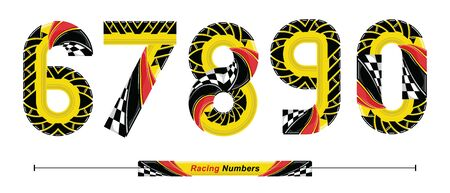 Vector graphic numbers in a set 6,7,8,9,0, with Abstract Racing Flag. Typography design for posters, logos, cover, etc.