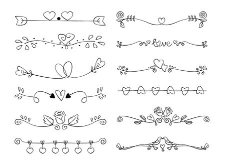 Set Of Decorative love Calligraphic Elements For Decoration. Valentine Handmade Vector Illustration.