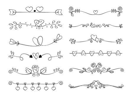 Set van decoratieve liefde kalligrafische elementen voor decoratie. Valentijn handgemaakte vectorillustratie. Vector Illustratie