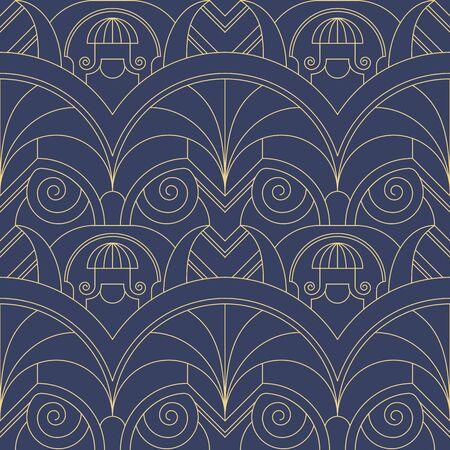 Vector modern geometric tiles pattern. Abstract art deco seamless luxury background. Иллюстрация