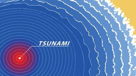Tsunami warning wave signal sea top view. earthquake vector illustration.
