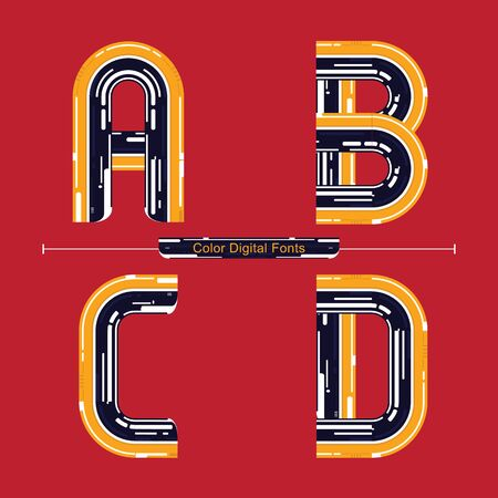 Vector graphic alphabet in a set A,B,C,D, with Color Digital font style Иллюстрация