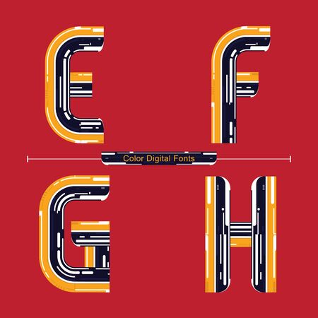Vector graphic alphabet in a set E,F,G,H, with Color Digital font style