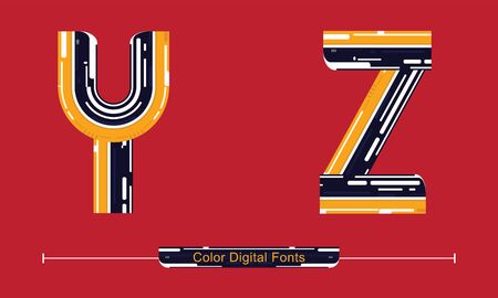 Vector graphic alphabet in a set U,V,W,X, with Color Digital font style Иллюстрация