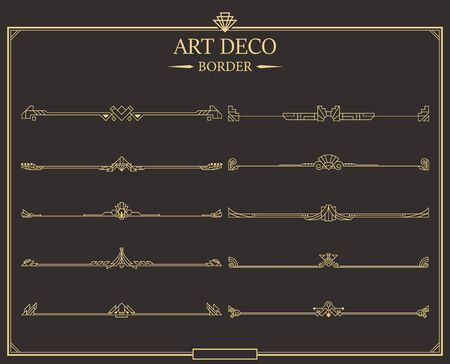 Set of Art deco gold calligraphic page dividers. Vector golden flourishes page decoration vignettes. header and border template in style of 1920s for your design. Иллюстрация