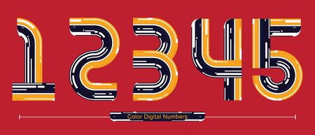 Vector graphic numbers in a set 1,2,3,4,5, with Color Digital font style