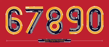 Vector graphic numbers in a set 6,7,8,9,0, with Color Digital font style