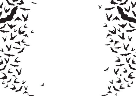 Black bats flying background. Decoration element from scattered silhouettes. Halloween symbols on white. vector illustration.