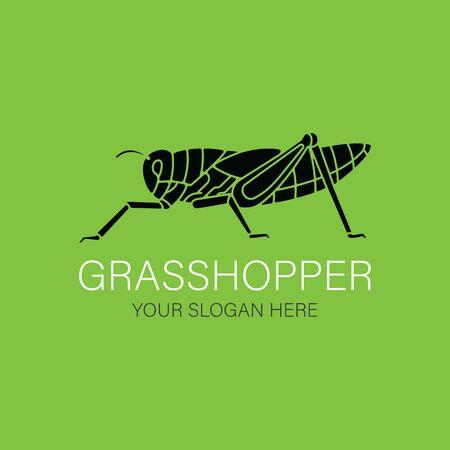 Grasshopper Logo design vector template silhouette style. Black icon. Creative Logotype concept. Иллюстрация