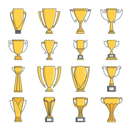 Gold trophy cup vector icon set. thin line style. Vector symbols isolated on a white background.