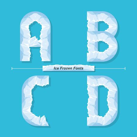 Vector graphic alphabet in a set A,B,C,D, with Ice Frozen font style Иллюстрация