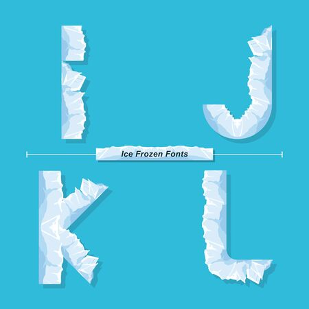 Vector graphic alphabet in a set I,J,K,L, with Ice Frozen font style