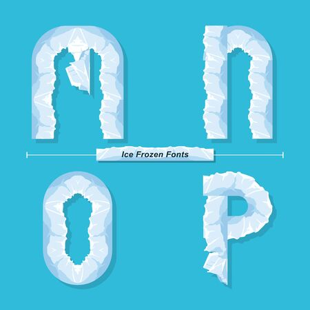 Vector graphic alphabet in a set M,N,O,P, with Ice Frozen font style