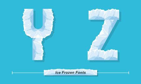 Vector graphic alphabet in a set Y,Z, with Ice Frozen font style Иллюстрация