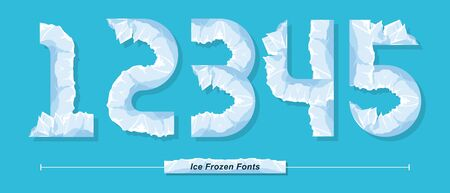Vector graphic numbers in a set 1,2,3,4,5, with Ice Frozen font style
