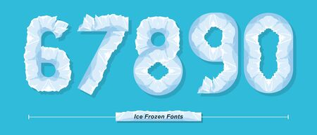 Vector graphic numbers in a set 6,7,8,9,0, with Ice Frozen font style