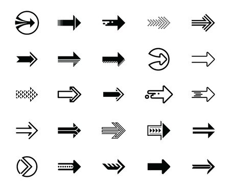 Modern simple black arrows icons set. Vector illustration. Иллюстрация