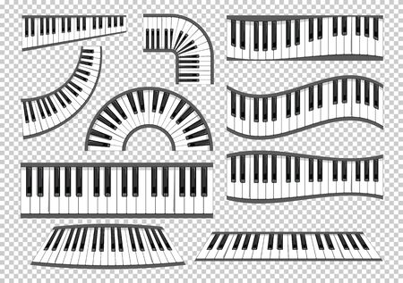 Piano keyboards vector. Various angles and views set. illustration on transparent background.