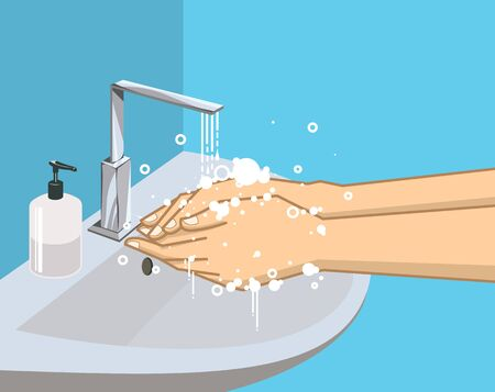 Washing hands with soap under the faucet with water, Hygiene and promotion of cleanliness and health, health care. vector illustration.