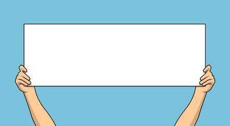 hand holding white blank paper isolated on blue background. Vector illustration. Illustration