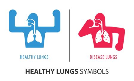 Healthy lungs and disease lungs. Autopsy medical concept. Cancer and smoking problem. Set of health people in different poses isolated on white background.