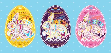 Happy easter poster, invitation card, greeting card with rabbit, colorful background. the season of joy. vector illustration