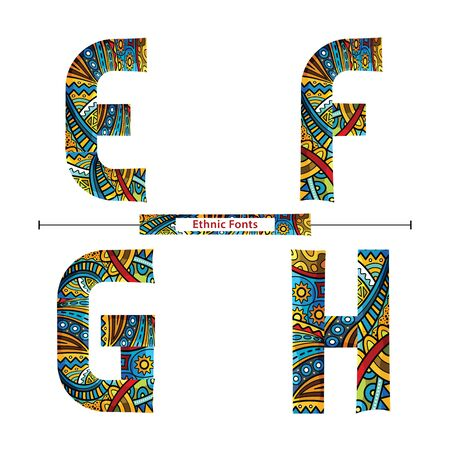 Vector graphic alphabet in a set E,F,G,H, with Colorful  ethnic tribal fonts style  イラスト・ベクター素材