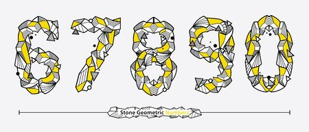 Vector graphic Numbers in a set 6,7,8,9,0, with Neo Memphis Geometric Rock Stone fonts style