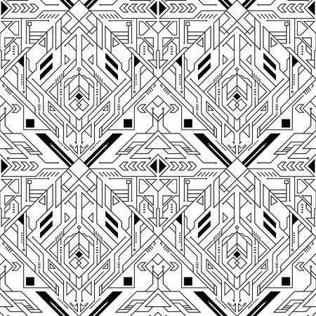 Vector modern geometric tiles pattern. Abstract technology with line seamless background.