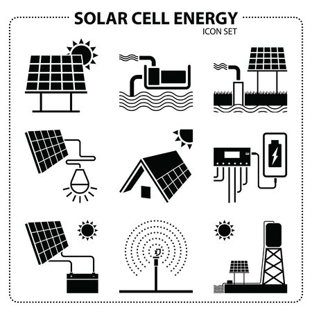 Solar cell energy icon set vector. Green energy to use in agriculture. Water pump sends water to the water tank.