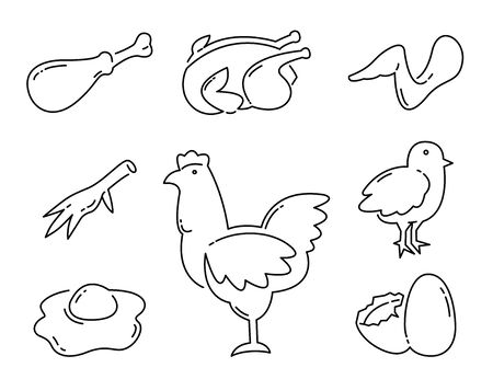 Chicken product food Line Icons set. Simple Minimal Pictogram. vector illustration.