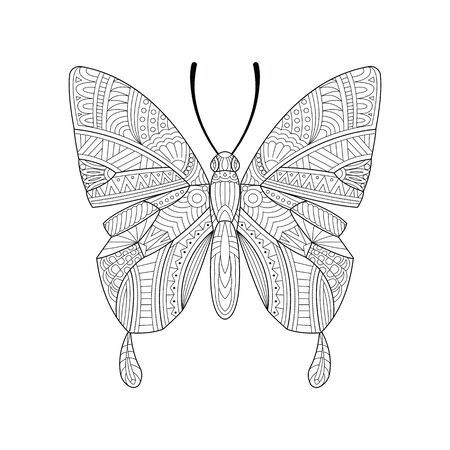 Hand drawn butterfly. Sketch for anti-stress adult coloring book in style. Vector illustration for coloring page.