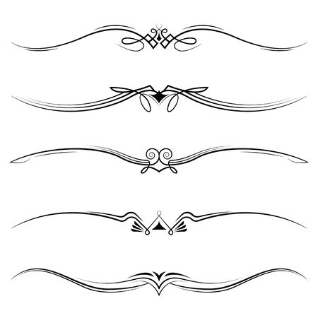 Vector set of decorative elements, border and page rules frame. Ilustracje wektorowe