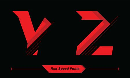 Vector graphic alphabet in a set Y,Z, with Abstract Red Speed font style  イラスト・ベクター素材