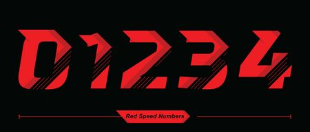Vector graphic numbers in a set 0,1,2,3,4, with Abstract Red Speed font style 向量圖像