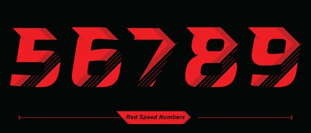Vector graphic numbers in a set 5,6,7,8,9, with Abstract Red Speed font style 向量圖像