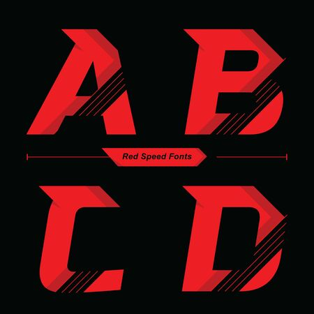 Vector graphic alphabet in a set A,B,C,D, with Abstract Red Speed font style