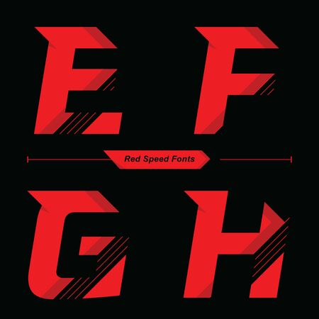Vector graphic alphabet in a set E,F,G,H, with Abstract Red Speed font style 向量圖像