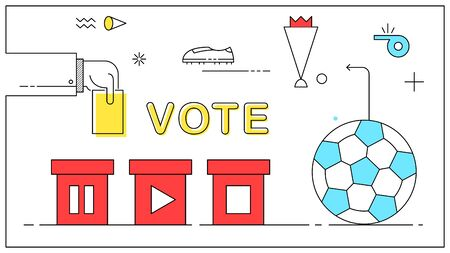 Vote football or soccer play again. Flat trendy style vector illustration. 向量圖像