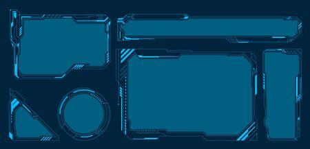 HUD UI GUI futuristic user interface screen elements set. High tech screen for video game. Sci-fi concept design. Vector illustration.