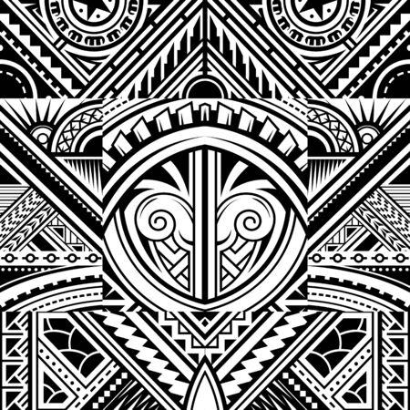 Polynesian style tribal tattoo fabric vector seamless pattern Ilustración de vector
