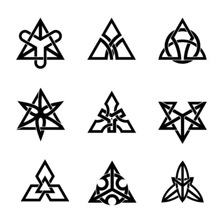 Traditional Celtic Knot Triangles. Abstract Ethnic ornament. Geometric design. Tattoo Vector illustration set