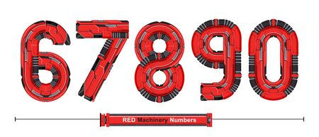 Vector graphic numbers in a set 6,7,8,9,0, with Abstract Red Machinery Font. Typography design for posters, logos, cover, etc.