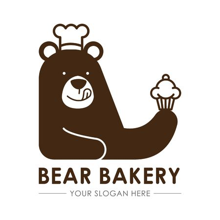 Brown Bear Chef bakery logo, delicious sweets and desserts template, flat design vector isolated white background.