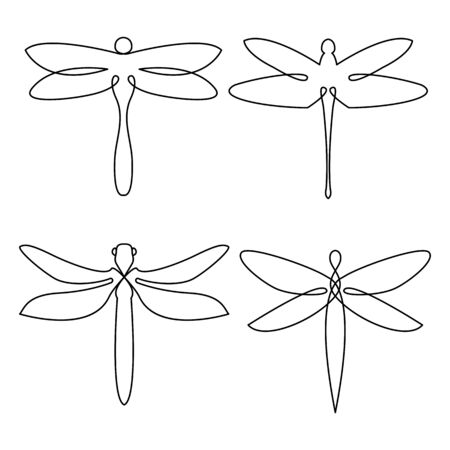 Dragonfly continuous line drawing elements set isolated on white background. Minimalist elegant   design with line art style. Vector illustration.