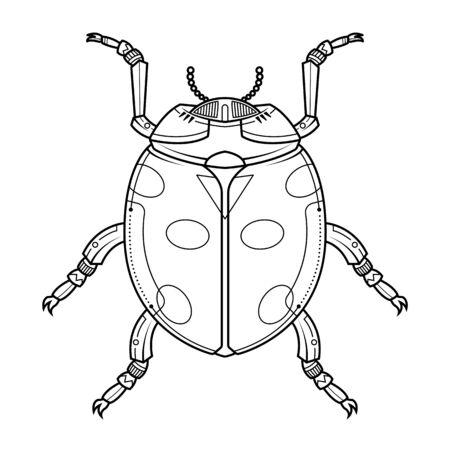 Egyptian scarab beetle. Hand drawn vintage tattoo art. Vector illustration. Icon isolated on white background. Ilustracja