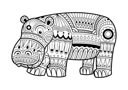 Cute Hippopotamus coloring book vector illustration animal for adult, tattoo, shirt design and other decorations. Ilustracja