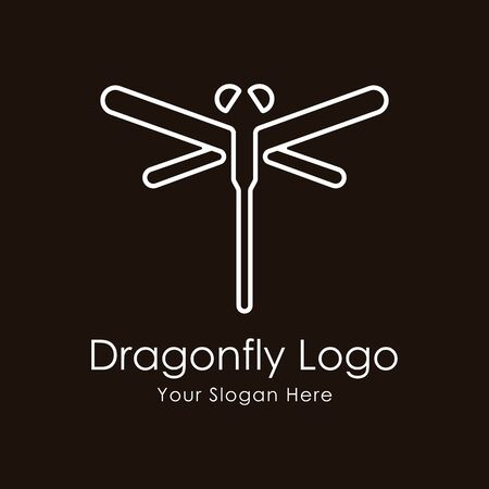 Dragonfly Luxury and Minimalist Logo design template linear style. Vector Illustration.