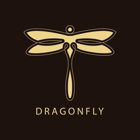 Dragonfly Luxury Logo design template linear style. Golden Vector Illustration. Ilustração