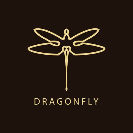 Dragonfly Luxury Logo design template linear style. Golden Vector Illustration. Banco de Imagens - 149820172